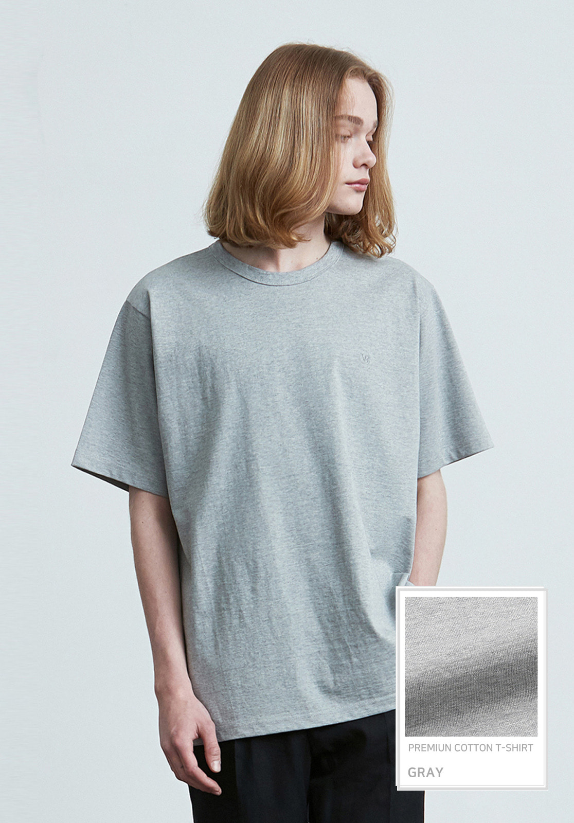 V017 PRIMIUM COTTON T-SHIRTS  GRAY
