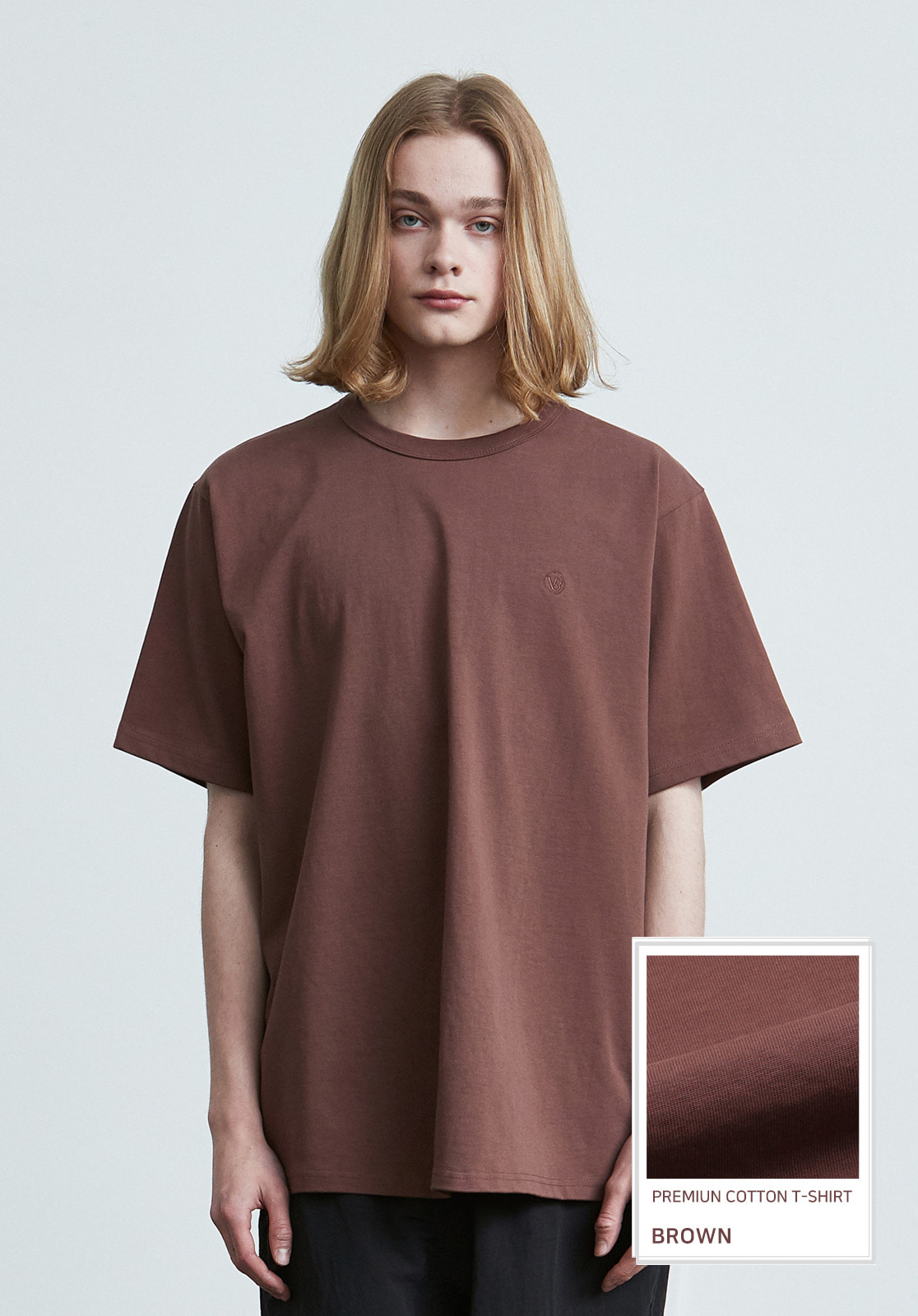 V017 PRIMIUM COTTON T-SHIRTS  BROWN