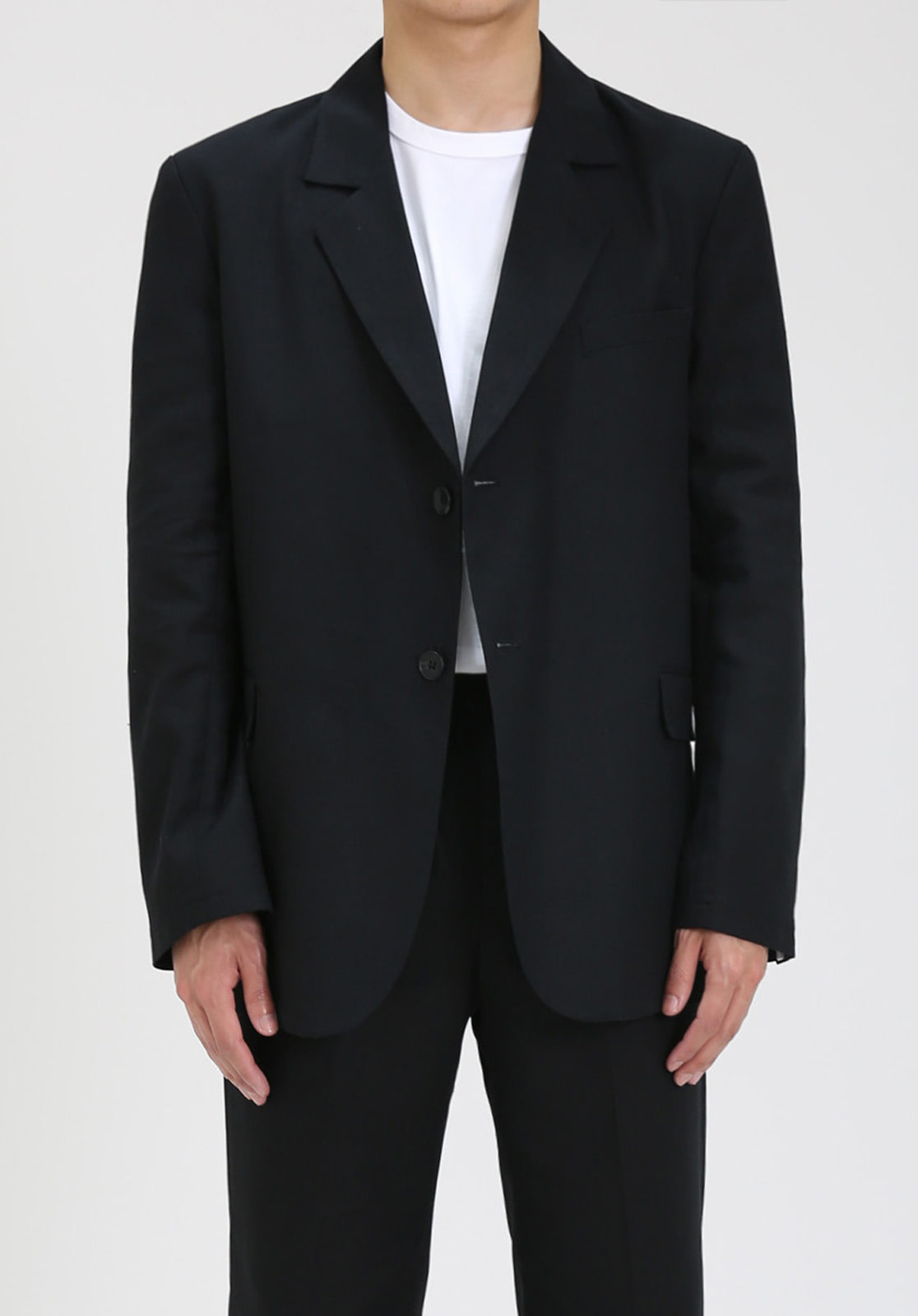 V024 LINEN SINGLE JACKET  BLACK
