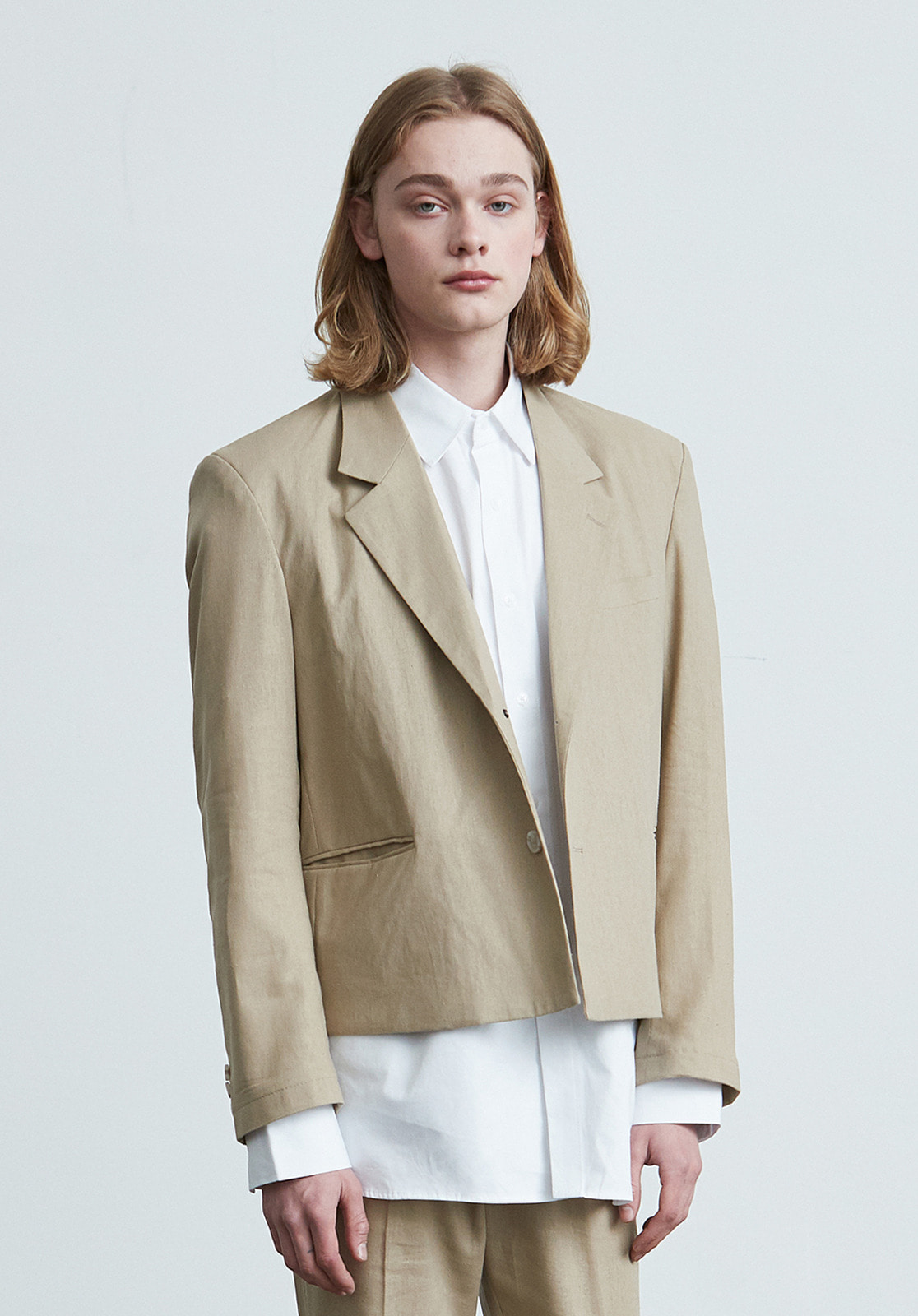 V023 LINEN CROP JACKET  BEIGE